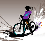 Biker girl silhouette. Biker girl silhouette,  illustration with splashes Royalty Free Stock Photo