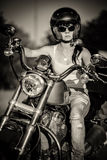Biker girl stock photo
