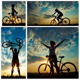 Biker-girl at the sunset Royalty Free Stock Photo