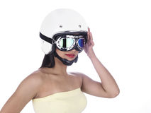 Biker girl in a white helmet Stock Image