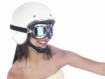 Biker girl with a white helmet Stock Images