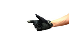 Biker glove pointing to copy space Royalty Free Stock Photography