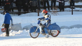 Biker go to the start of ice speedway competition stock video