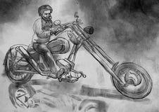 Biker.An hand drawn illustration, freehand sketching. stock illustration