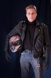 Biker with helmet Royalty Free Stock Photos
