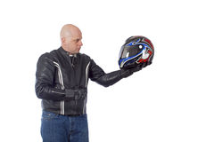 Biker with helmet Stock Photography