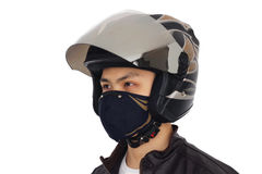 Biker with helmet and mask Stock Photo
