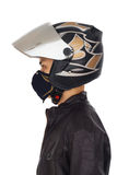 Biker with helmet and mask Stock Images