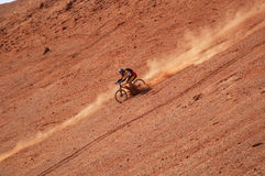 Biker high speed 2. Biker high speed In Red Mountain Stock Photography