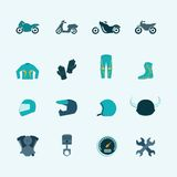 Biker icon set. Biker street riding style accessories selection flat icons set with helmet jacket boots accessories isolated vector illustration Stock Photo