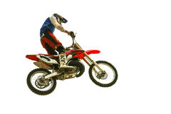 Biker jump at the trial show royalty free stock photography
