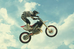 Biker jump at the trial show Royalty Free Stock Photo