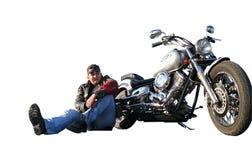Biker Klimenko Oleg on a white background. Stock Photography