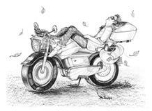 Biker life style cartoon drawing is freedom he sleeping on bike Stock Photos