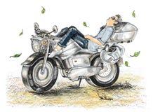 Biker life style cartoon paint is freedom he sleeping on bike Royalty Free Stock Images