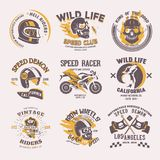 Biker logo vector rider on motorcycle or bike and speed motorcyclist racer on logotype motor emblem illustration racing. Set isolated on white background Royalty Free Stock Images