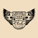 Biker logo with wings illustration. MC sign. Custom garage label. Vector vintage motorcycle store emblem. Hand drawn classic chopper shield in ink style vector illustration