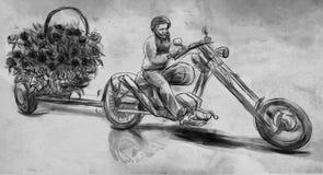 Biker. Love Maker. An hand drawn illustration, freehand sketchin royalty free illustration