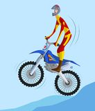 Biker making a stunt and jumps in the air. Cartoon style biker making a stunt and jumps in the air in vector Stock Images