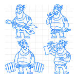 Biker man doodle concept set 2 Stock Photos