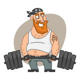 Biker man lifting barbell Stock Image