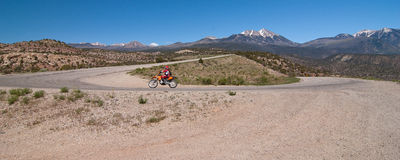 Biker in Manti-La Sal National Forest Royalty Free Stock Photography