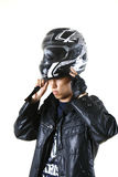 Biker men model. Dresses a helmet Royalty Free Stock Images