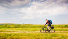 Biker in motion Royalty Free Stock Image