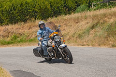 Biker on a Moto Guzzi California II Royalty Free Stock Images