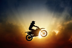 Biker on motorbike Royalty Free Stock Photo