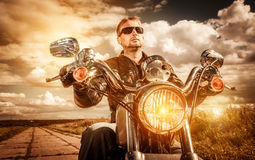 Biker on a motorcycle Royalty Free Stock Photography
