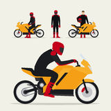 Biker with motorcycle. In different poses flat vector illustration. Motorcyclist on motorbike royalty free illustration