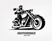 Biker, motorcycle grunge vector silhouette. Retro emblem and label Royalty Free Stock Photos