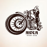 Biker, motorcycle grunge vector silhouette. Retro emblem and label Royalty Free Stock Images