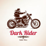 Biker, motorcycle grunge vector silhouette. Retro emblem and label Royalty Free Stock Photography