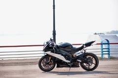 Biker motorcycle. Motorcycle and biker, mirror Stock Images
