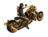 Biker on a motorcycle Steampunk. 3d rendering of a biker as illustration Royalty Free Stock Image
