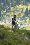 Biker in mountain Stock Image