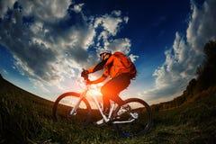 Biker in orange jersey riding on green summer field Stock Photo