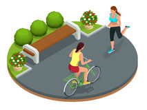 Biker in park, woman running Cycling on bike path. Weekend excursion on their bikes on summer day. Flat 3d vector Stock Image