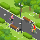 Biker in park, woman running Cycling on bike path. Weekend excursion on their bikes on summer day. Flat 3d vector Royalty Free Stock Images