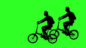 Biker passing through the screen from right to left. Green screen footage. 4k animation. stock footage
