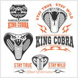 Biker patches King cobra - vector set Stock Photography