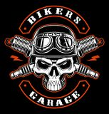 Biker pathc wit skull and crossed spark plugs. Vintage biker patch with skull and crossed spark plugs. Text is on the separate group royalty free illustration
