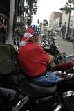 Biker Patriot. Old bearded biker with american flag bandanna Royalty Free Stock Image