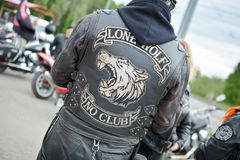 Biker. Photo biker in a leather jacket from the back Stock Images