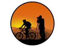 Biker and photographer Royalty Free Stock Images