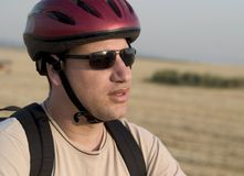 Biker Portrait#2. An Israeli bike rider with rural background Royalty Free Stock Images