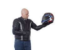 Biker posing Stock Photography