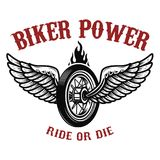 Biker power. Wheel with wings. Design element for logo, label, emblem,sign, badge, t-shirt, poster. Vector illustration Royalty Free Stock Image
